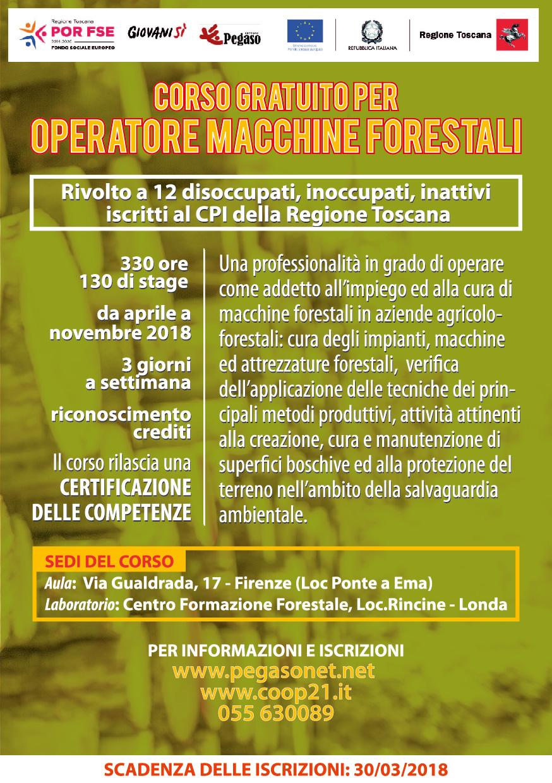 Volantino corso Operatore macchine forestali